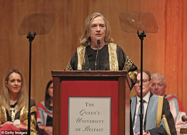 The former US secretary of state, Hillary Clinton, was installed as the chancellor of Queen's University during a ceremony at the Belfast academic institution on Friday