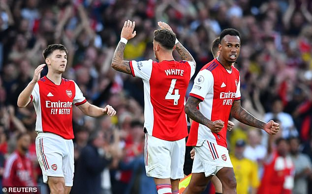 Arsenal's defenders were key to their north London derby victory (pictured left to right: Kieran Tierney, Ben White and Gabriel)
