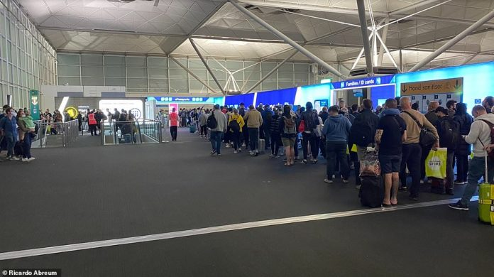 A passenger described the queues at London Stansted Airport last night as a 'ridiculous situation that often happens'.