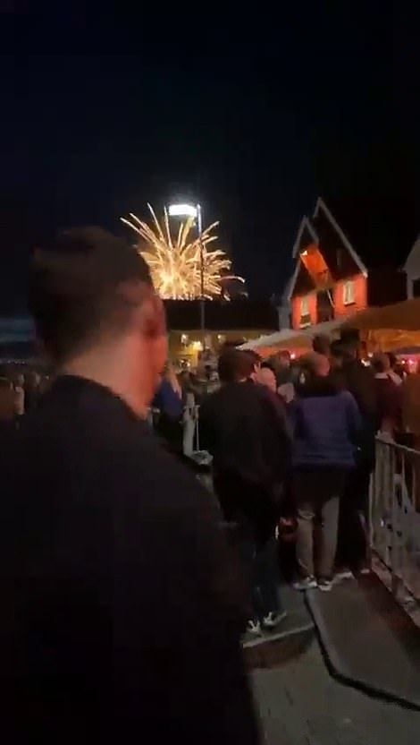 People pack on the streets of Stavanger on Saturday night