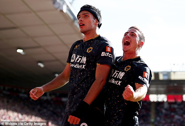 Raul Jimenez (left) made an emotional return to the scoresheet in Wolves' win at Southampton