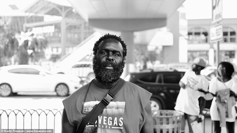 Heartbreaking: Frausun said he found this man rambling outside of the Hard Rock Hotel, desperate to find his mother. He explained that the man only stopped when he took his photo