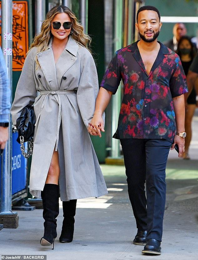 So chic: Chrissy Teigen was seen hanging out in SoHo, New York City on Monday morning with her husband John Legend
