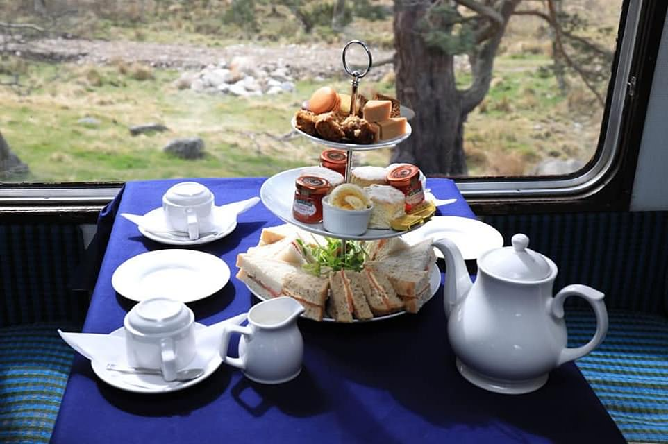 Creature comforts: Enjoy afternoon tea on the Strathspey line, which iskeeping steam alive in the Highlands