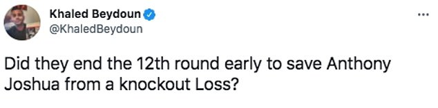 Boxing fans online insist that Joshua's fight against Usyak was called off early to avoid a knockout