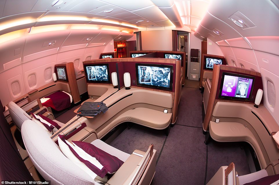 Qatar Airways has been named as the No.1 carrier on the planet out of 350 airlines at the 'Oscars of Aviation'. Above is a first-class cabin on one of the carrier's A380s