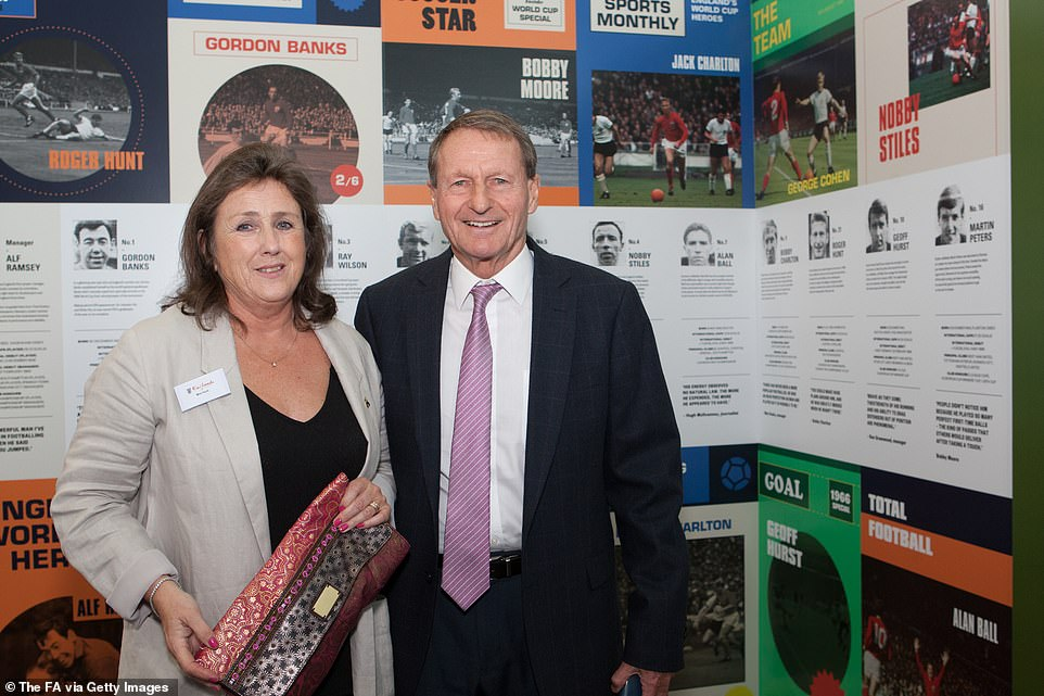 Hunt and his wife Rowan are pictured at the 1966 World Cup Exhibition Launch at Wembley Stadium in July 2016