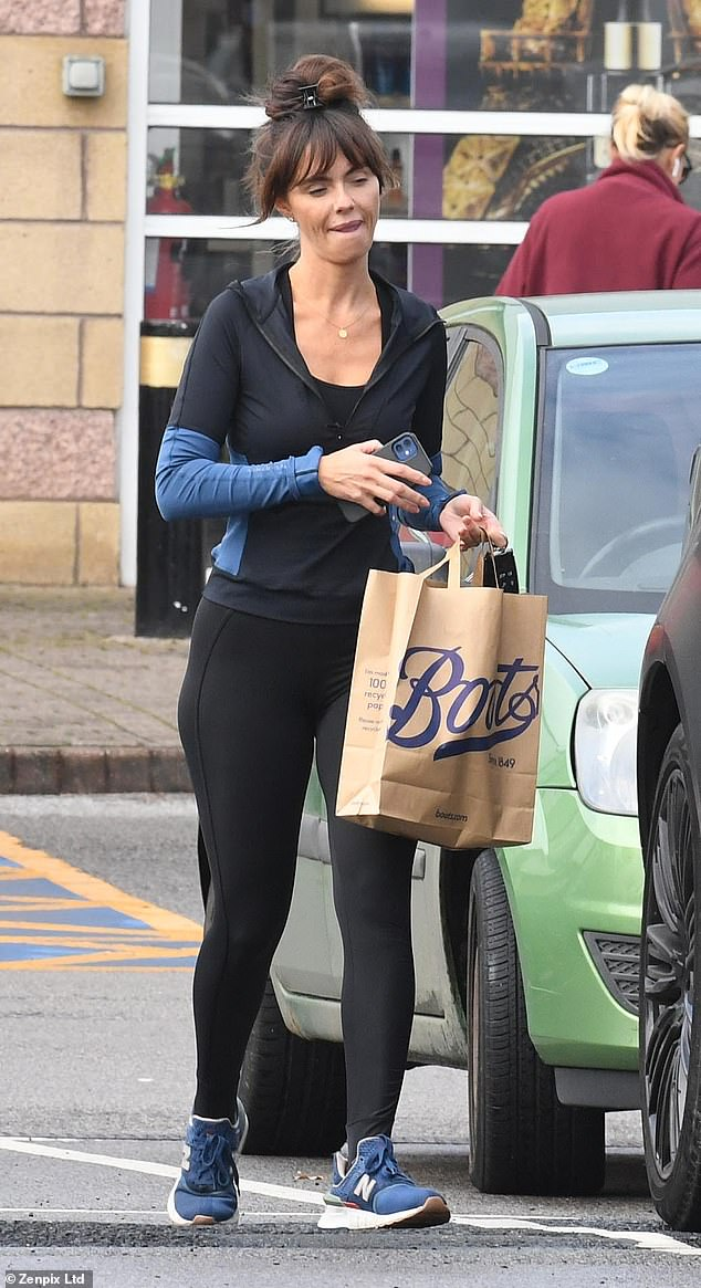 Glow: Jennifer showcased her fitted frame in sportswear, including a blue and black zip top, paired with black leggings