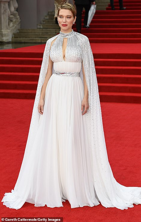 No Time To Die star Lea Seydoux channelled old Hollywood glamour in a silver and white gown complete with shimmering cape