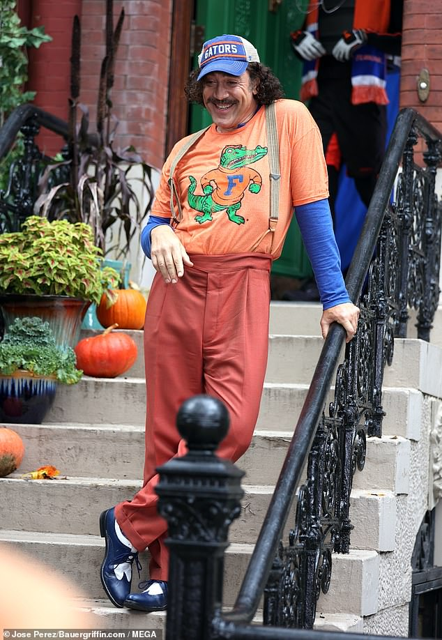 Star power: Javier Bardem easily jumped into character while filming an adaptation of beloved children's book Lyle, Lyle Crocodile in New York on Tuesday morning