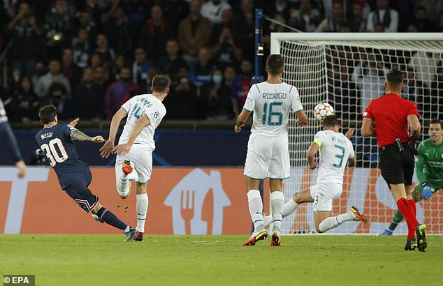 Messi raced through the City defence, laid-off for Kylian Mbappe before hitting the top corner