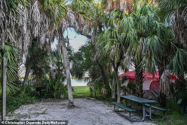 The campsite is located at the Fort De Soto campground in Pinellas County, Florida, close to St Petersburg