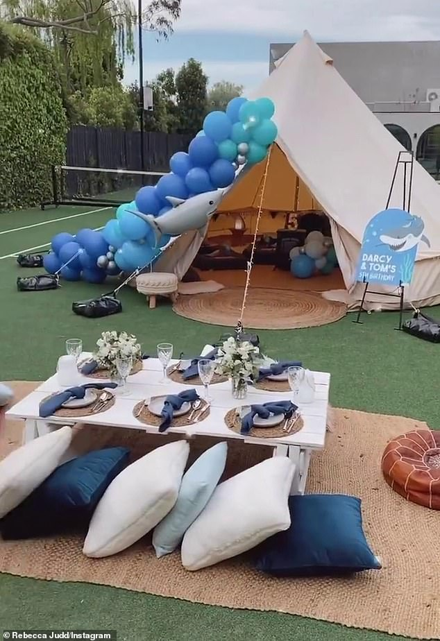 Celebrations: Elsewhere on her Instagram Story, the mother of four showed off the fun glamping experience she'd organised at her Brighton home for her twins' fifth birthday