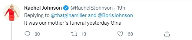 To which Ms Johnson bluntly responded: 'It was our mother's funeral yesterday Gina'