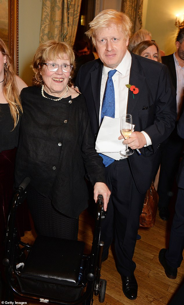 Pictured: Boris Johnson with his mother Charlotte Johnson Wahl attending the launch of his book 'The Churchill Factor: How One Man Made History' in 2014