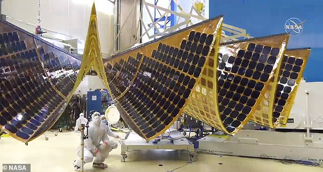The Lucy spacecraft has solar panels on each side to help power its instruments and is 51.8 feet wide and more than 46 feet from tip to tip.