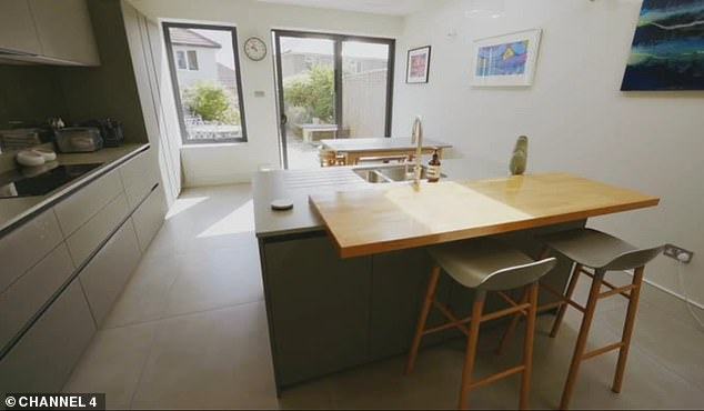 The couple loved the kitchen (pictured) in the renovated Victorian terrace house in Crofton Park and were thrilled it needed no renovation