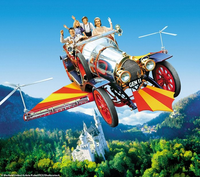 With solar panels stuck on, the Stella Vita is reminiscent of Chitty Chitty Bang Bang as it blew through the air in the 1968 classic film (pictured).