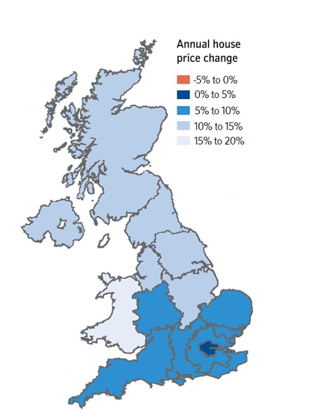 Nationwide home price annual change, mapped by Nationwide, with light blue colors showing where prices are rising fastest