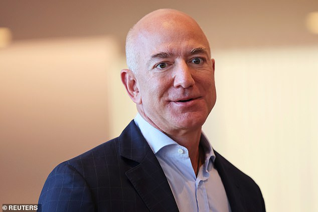 Billionaire American businessman Jeff Bezos (pictured) owns the space firm Blue Origin, which is suing NASA over SpaceX's $2.9 billion lunar lander contract.