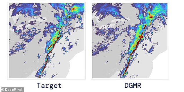 The AI system uses the last 20 minutes of radar data (pictured at left as the target) and then predicts rainfall using its Deep Generative Model of Precipitation (right).