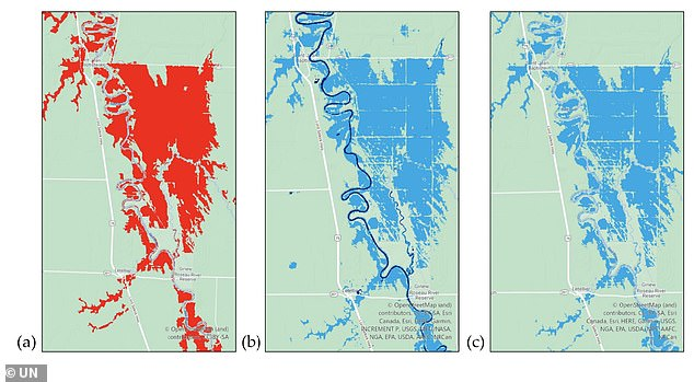These instrument-generated maps show the extent of the 2019 Red River floods in Minnesota.  Areas in red indicate the extent of flooding beyond the normal water level.