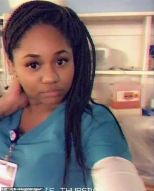 A heartless neonatal ICU nurse has been fired for mocking a newborn with a birth defect by posting photos of the sick infant on social media. Sierra Samuels pictured on Instagram