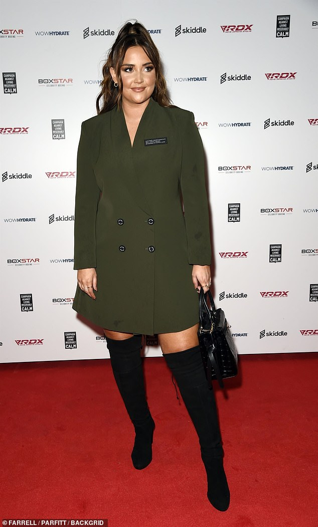 Fashionista: The 28-year-old actress from The EastEnders wore a leggy blazer dress with knee-high black suede boots