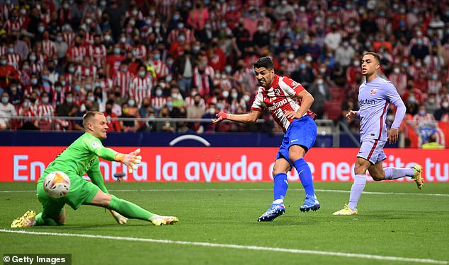 Suarez scored one goal and assisted another as Atletico Madrid beat Barcelona on Saturday