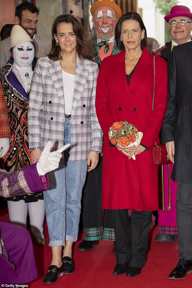 Pauline spent years in a caravan at a traveling circus after she famously eloped with an elephant trainer before returning to Monaco.  She is pictured with Stephanie of Monaco at the 44th International Circus Festival in 2020