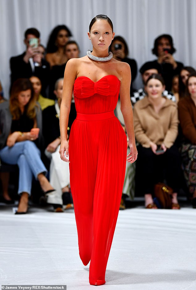 With the country's womenswear buyers, I've slowly turned my back to black over the years.  Pictured: Leila Grace Moss wears red on the Hack catwalk