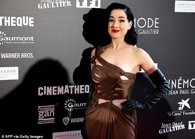 Center of Attention: Dita made sure to stand out from the crowd with her show-stopping outfit