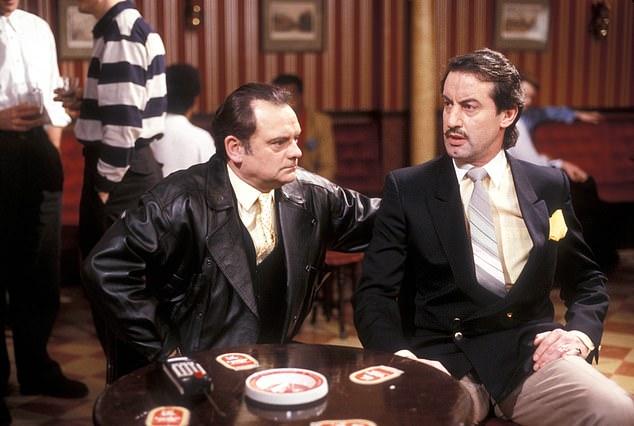 Sir David Jason (L) as Derek 'Del Boy' Trotter and John Challis (R) as Boycie on set of Only Fools and Horses