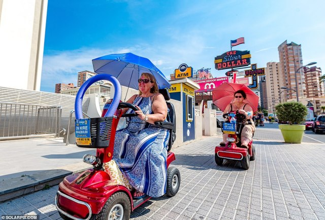 The mobility scooters made famous by the ITV series of the same are becoming a familiar sight again on Benidorm as Britons flood back to the popular resort town