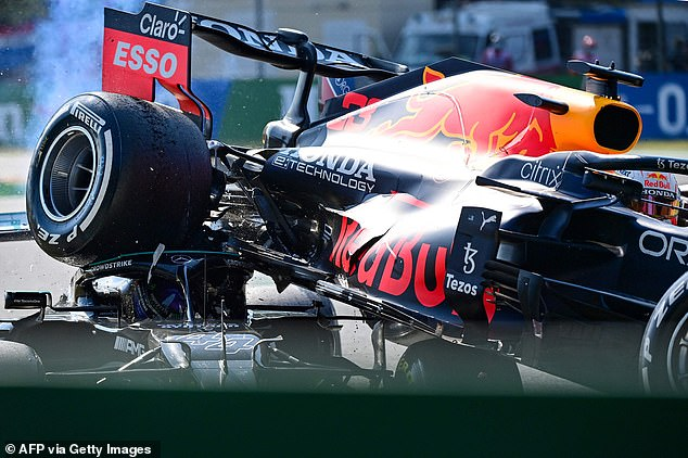 Hamilton was saved from serious injury by the protective halo device on his Mercedes