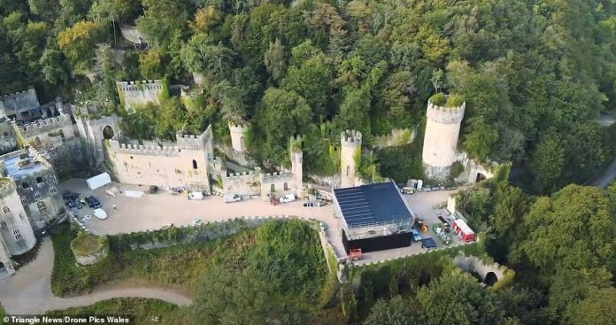 The work begins: In stunning aerial images and footage, ITV workers can descend upon the crumbling ruins of the castle as they prepare to lay it out for their celebrity residents in time for the news series in November.