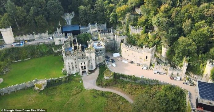 Getting Ready: Preparations for the upcoming series of I'm A Celebrity were well underway as work continued on Gwyrich Castle, the abandoned Welsh castle on Monday