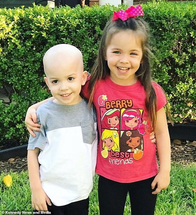 Photo of siblings during Beckett's treatment.  Caitlin says the pair have an 'incredible bond' and that Aubrey remains 'the protector of her younger brother'.