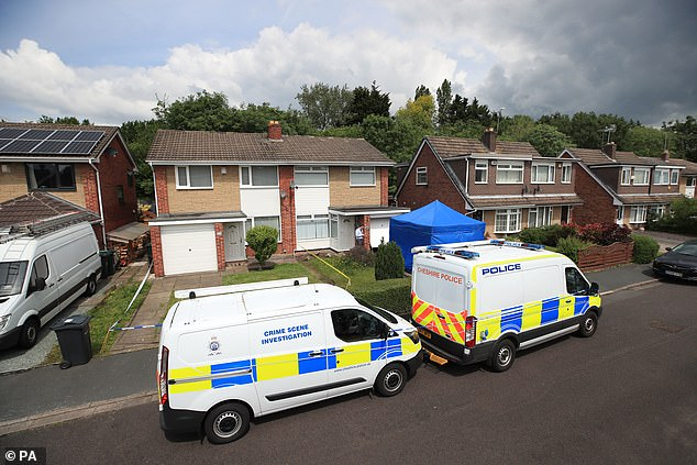 After entering her pleas, the defendant, of Hereford, sat listening to hearing, which dealt largely with administrative matters (pictured are police outside her home)