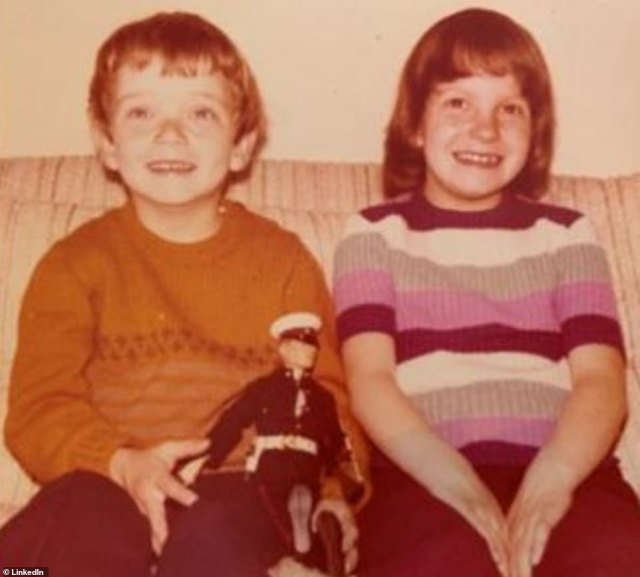 A tearful Sarah revealed that she was informed about her brother¿s death on the telephone by his wife on late Saturday afternoon. They are pictured together as children, with a model of a Royal Marine
