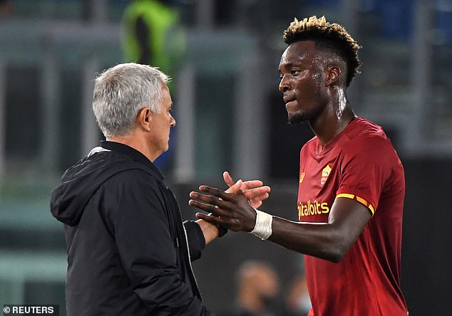 The former Chelsea striker has flourished in Serie A this campaign under Jose Mourinho (left) so far