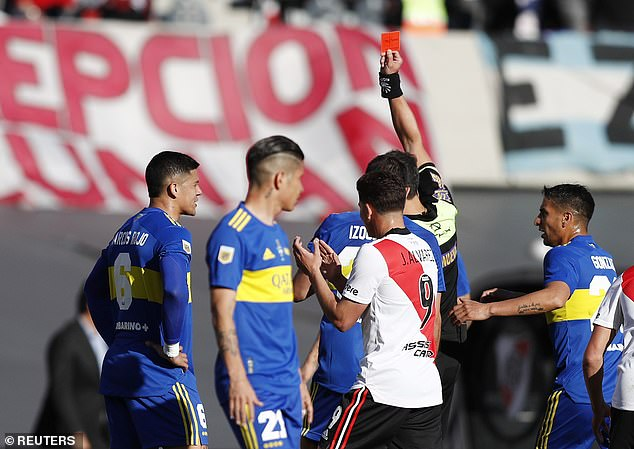 He was then shown a fifth career red card after clattering into River'sAgustin Palavecino