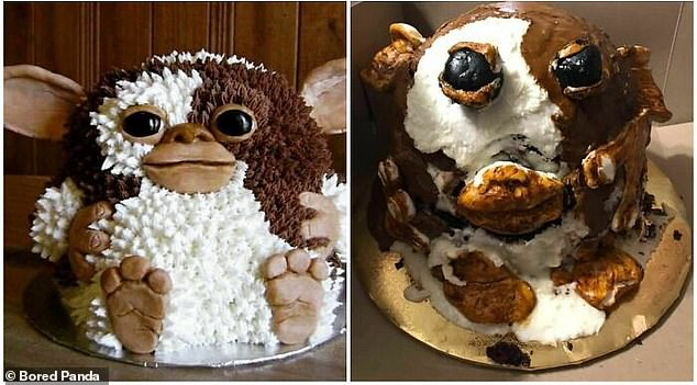 Without earlier comparisons, it would be hard to say that this cake was inspired by Gizmo from the 1984 film Gremlins.