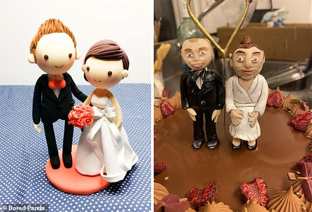 Not exactly what was ordered!  The bride and groom (pictured right) on the wedding cake appeared very different from the newlyweds' requests (pictured left)
