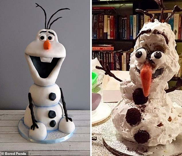 To prove that it takes a steady hand to paint with frosting, this Olaf cake decoration (pictured right) doesn't really do the movie character justice (pictured left)