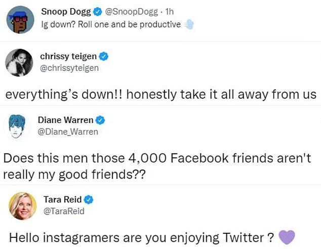 Nice one, guys!  Stars including Snoop Dogg, Diane Warren and Tara Reid crack jokes