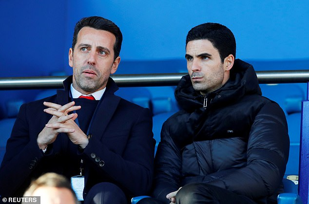 Arteta has reportedly told director of football Edu (left) to start the search for a new striker