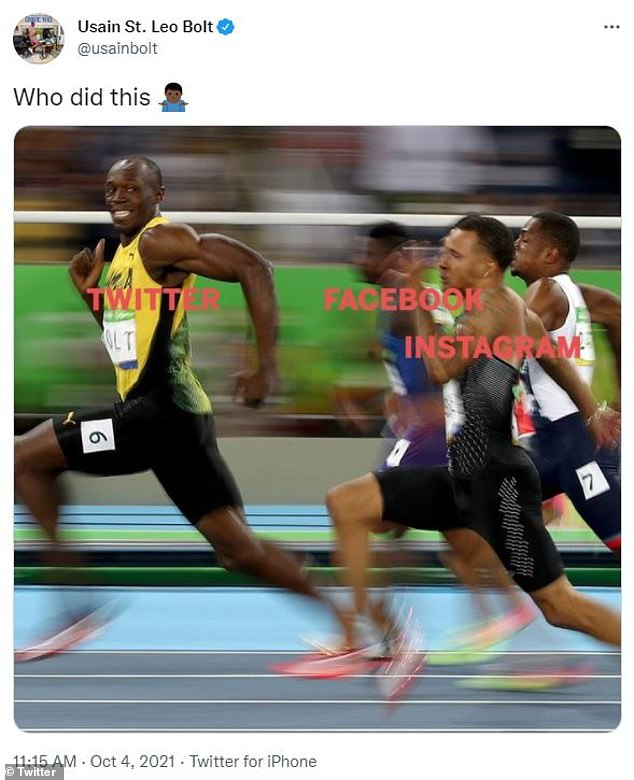 Struggling to keep up: Usain Bolt compares this image to runners defeating a race, how other social media platforms other than Twitter were running