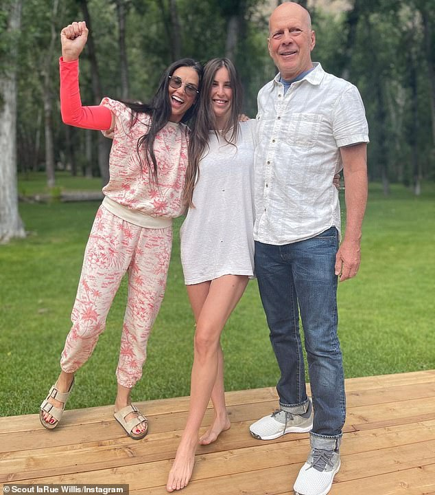 Reunited:In July, Scout shared photos of a reunion between her father Bruce Wilis and Demi as she celebrated her 30th birthday