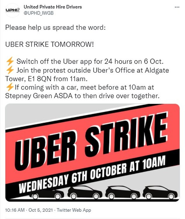 The United Private Hire Drivers announced the strike on its Twitter profile this morning
